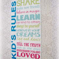 Kid's Rules Shabby Chic Typography SignWhite by cellardesigns