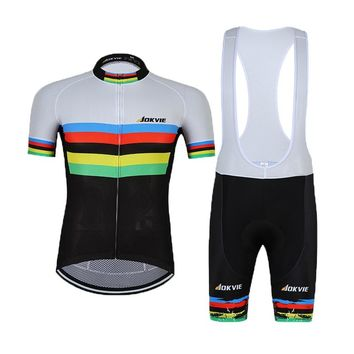 Jokvie Champion Men Cycling Jersey Set and Cycling Bib Shorts Comfortable Summer Bicycle Wear Male Cycle Clothing Size S-3XL
