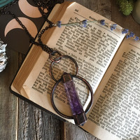 Large Crystal Necklace / Large Amethyst Pendant / Crystal Wand Necklace / Blackened Copper Crystal Necklace / Handmade Witchy Necklace /
