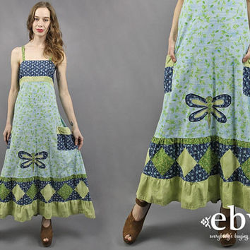 Hippie Dress Dragonfly Dress Handmade Dress 70s Dress 1970s Dress 70s Maxi Dress Festival Dress Hippy Boho Dress Patchwork Dress XS S M