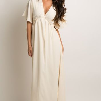 Ivory-Chiffon-Bell-Sleeve-Maxi-Dress