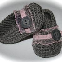 Crochet Baby shoes booties slippers ballet slippers baby girl gray pink