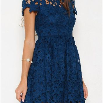 Final Sale   Floral Lace Applique Dress With Cap Sleeves In Teal