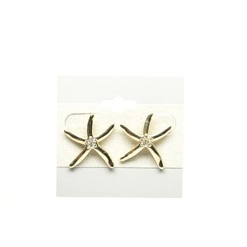 Starfish with Zirconia Gold Plated Stud Earring