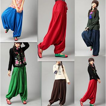 Women's Low Harem Linen Pants (7 Colors)