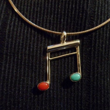 Authentic Navajo,Native American,Southwestern sterling silver coral and sleeping beauty turquoise double music note pendant/necklace