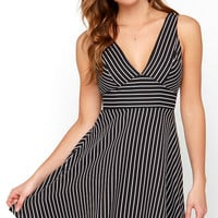 Do or Diagonal Ivory and Black Striped Dress