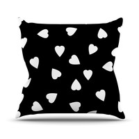 "Suzanne Carter ""Hearts White"" Black Throw Pillow"