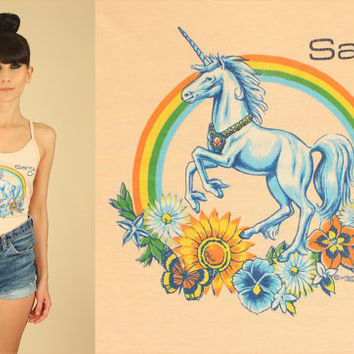 ViNtAgE 80's Super Rare RAINBOW UNICORN Print Tank Top // Santa Cruz // Soft Vintage T-Shirt Tee // Flowers Butterflies Floral // Large L