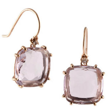 Suzanne Kalan Classics Rose de France Quartz Cushion Cut Drop Earrings