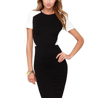 Contrast Short Sleeve Bodycon Zipper Mini Dress