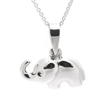 Sterling Silver Trunk up Elephant Necklace