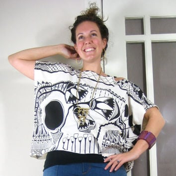 VALLEY TEE - oversized boxy top, black and white, organic cotton, hand screen printed, tshirt, floral, tribal, egyptian, one size, geometric