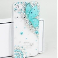 Deluxe Butterfly Bling Diamond Battery Handmade Case Cover For iPhone 4 4S 5 5S