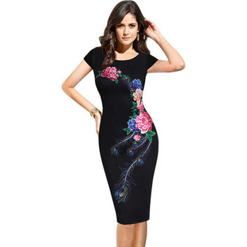 GAMISS Fashion Elegant Vintage Women Summer Dress Flower Peacock Printed Slim Party Evening Sheath O-Neck Pencil Vestidos
