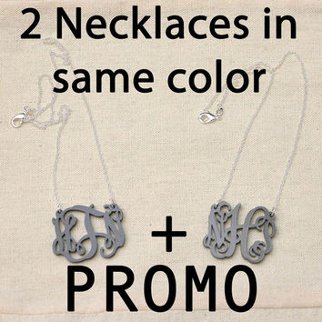 Monogrammed Necklace PROMO Buy one get one FREE in same color - Personalized Wedding Gift Jewelry