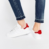 adidas Originals Stan Smith With Red Pony Trim Sneakers