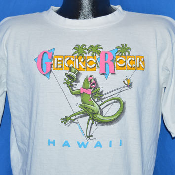 80s Gecko Rocks Hawaii Poly Tees t-shirt Large