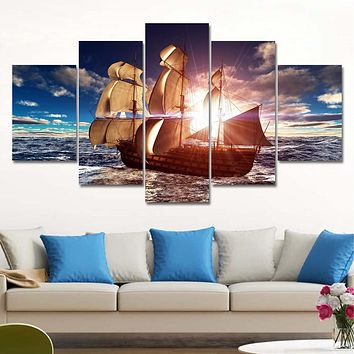 5 Panel Modern Canvas Prints Sea Boat Sunset Painting Beach Seascape Cuadros Decoracion Wall Picture for Living Room No Frame