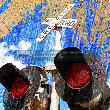 Colorful Railroad Crossing Art Print, Wall Decor, Railroad Print,Train Artwork, Home Decor, Unique Modern Art Print, Large Or Small Print