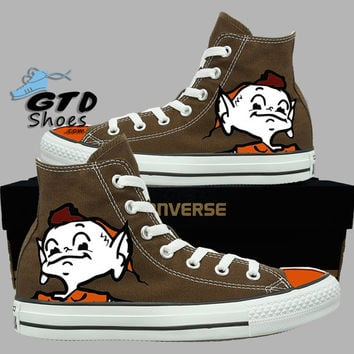 Hand painted Converse Hi. Cleveland Browns, Brownie the elf. Football. Chocolate. Handpainted shoes.