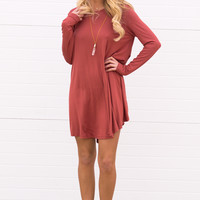 Cara Long Sleeve Shift Dress- Brick