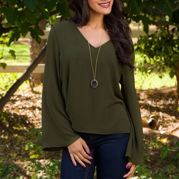 Empire State Of Mind Top - Olive
