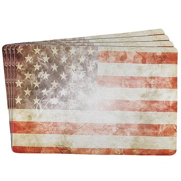 4th of July American Flag Star Spangled Banner All Over Placemat (Set of 4)