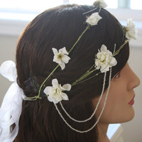 LITHE flower crown two tiered with bead by naturallyinspired
