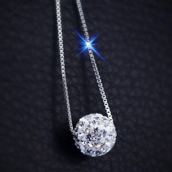womens girls unique twinkle crystal necklace 925 sterling silver gift 80