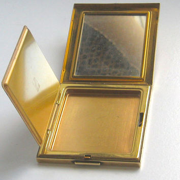 Vintage Compact, Powder Compact, Rectangular Compact, Signed Compact, Make Up Mirror, Gold Tone Compact, Compact Mirror,  Vintage Vanity