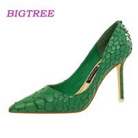 BIGTREE Brand Luxury Designer Women Green Heels Pumps Scarpin Feminino Salto Alto Sexy High Heel Pumps 2018 Ladies Heel Shoes