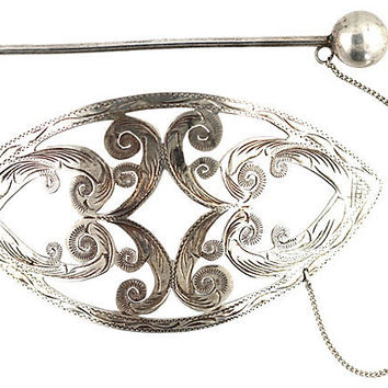 Mexican Silver Hair Barrette & Pin
