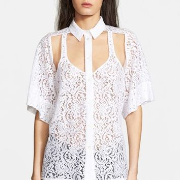 Women's N21 Illusion Cutout Lace Blouse