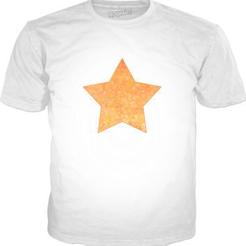 Ombre yellow and orange swirls doodles star Classic T-Shirt White