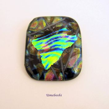 A Winters Jewel Large Heavy Coat Pin Brooch Dichroic Fused Glass Statement Jewelry