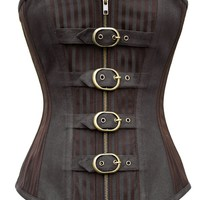 Brown Striped Corset with Buckles