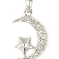 Sterling Silver Muslim Star and Crescent Pendant with Cubic Zirconia Accents