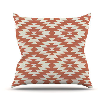 "Amanda Lane ""Southwestern Toasted Coral"" Red Tribal Outdoor Throw Pillow"