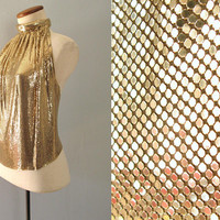 gold mesh halter - 70s vintage metallic chainmail backless top leather tie back metal disco club party rare designer one size fits most
