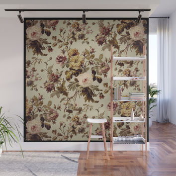 Vintage florals2 Wall Mural by jessycat