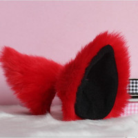RED long Fur inner  black Cat Ear cat ear clip Cosplay Costumes Party Black Friday Cyber Monday Costume Cosplay Party