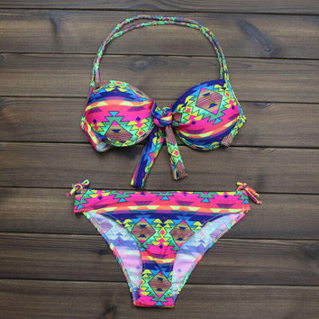 Aztec Halter Ethnic Bikini Push up Swimsuits