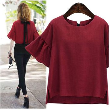 2018 Summer Plus Size blouse Women Tops Vintage Flare Sleeve Loose Casual Back Lace Up Bow women shirts 4XL blusa feminina