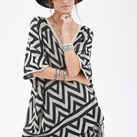 FOREVER 21 Chevron-Patterned Batwing Cardigan Black/Taupe