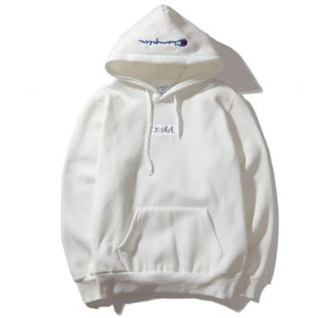 Champion Autumn And Winter Back Big Logo Plus Cashmere Hooded Sweater White