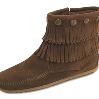 Minnetonka Double Fringe Side Zip Boot (Multiple Colors)