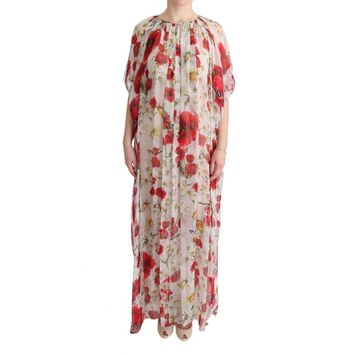 Dolce & Gabbana Multicolor Silk Floral Tunic Cape Kaftan Dress