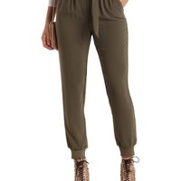 Olive D-Ring Belted Jogger Pants by Charlotte Russe