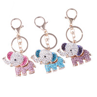 Cute Animal Crystal Rhinestone Golden Color 3D Elephants Key Chain